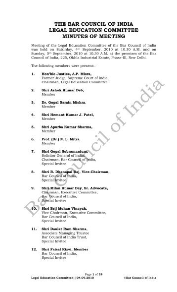 the bar council of india legal education committee minutes of meeting