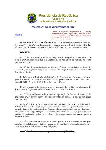 Decreto 7386 2010 Estrutura MF - Tesouro Nacional - Ministério da ...
