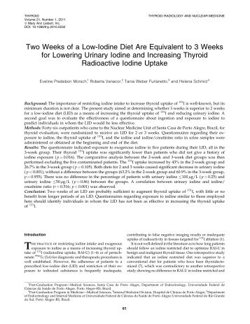 Two Weeks of a Low-Iodine Diet Are - Thyroid Cancer Canada