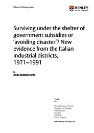 State Subsidies, Investment Behaviour and Risk in Italian Industrial ...