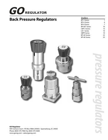 Adjustable Back Pressure Regulators