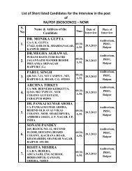 List of Short listed Candidates for the Interview in the post of RA/PDF ...