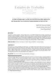 O 'Fórum Trabalho e Saúde' no Contexto da Precarização do ...