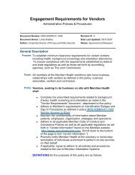 Engagement Requirements for Vendors - Riverview Medical Center