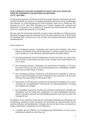 Schlussresolution des Madrider internationalen Seminars über die ...