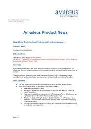 Amadeus Product News