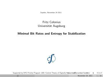 Fritz Colonius Universitdt Augsburg Minimal Bit Rates and Entropy ...