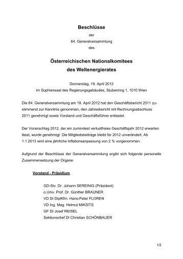 Beschlüsse Österreichischen Nationalkomitees des ... - WEC
