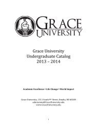 Undergrad Catalog 2013-2014 - Grace University