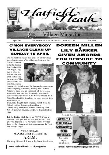April2007 Edition - Hatfield Heath Village Magazine