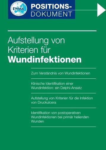 Aufstellung von Kriterien für Wundinfektionen - Publicare