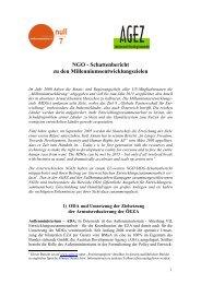 NGO - Schattenbericht zu den Millenniumsentwicklungszielen