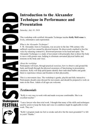 Introduction to the Alexander Technique in ... - Stratford Festival