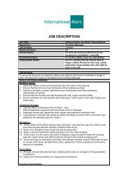 JOB DESCRIPTION - International Alert