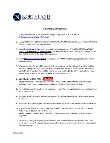 Financial Aid Checklist - Northland Community & Technical College