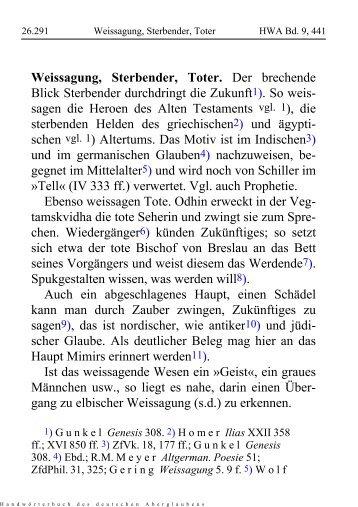 Weissagung, Sterbender, Toter - Schauungen.de