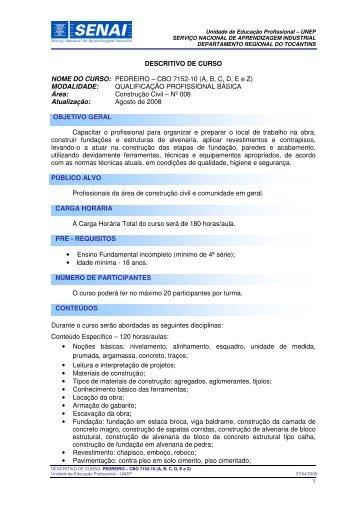 DESCRITIVO DE CURSO NOME DO CURSO: PEDREIRO – CBO ...