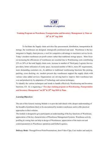 Training Program on Warehouse, Transportation and Inventory ...
