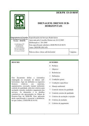 drenos sub- horizontais - DER - Estado do Paraná