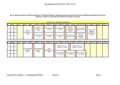 Rok akademicki 2013-2014 Inf. NS-I° inż. III ISI ISI_1 IO IO_1 IO IO_1 ...