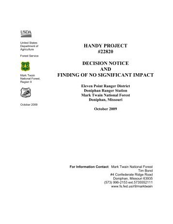 handy project #22820 decision notice and finding of no significant ...