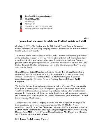 Tyrone Guthrie Awards celebrate Festival artists ... - Stratford Festival