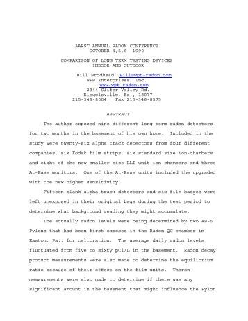Long Term Radon Detector Comparison - Wpb-radon.com