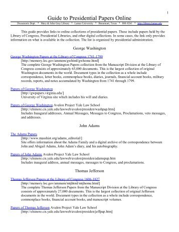 Guide to Presidential Papers Online - Library - Lamar University