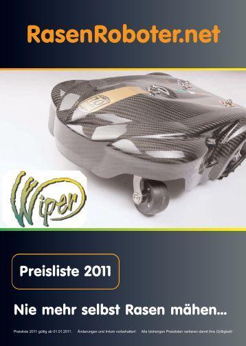 Preisliste Rasenroboter 2011 - Beregnungsparadies