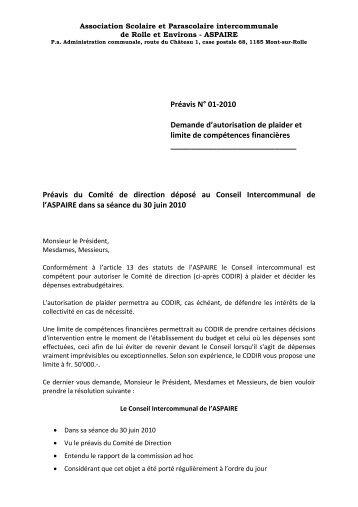 Préavis N° 01-2010 Demande d'autorisation de plaider et ... - aspaire
