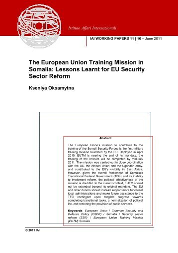 The European Union Training Mission in Somalia: Lessons ... - ISSAT