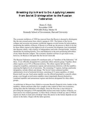 Breaking Up is Hard to Do: Applying Lessons ... - PONARS Eurasia
