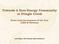 Towards A Zero-Energy Community at Pringle Creek