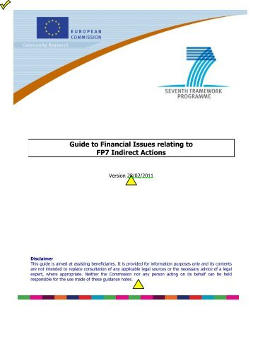 Guide to Financial issues related to FP7 Indirect Actions