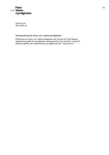 Arbetsordning för Havs och vattenmyndigheten