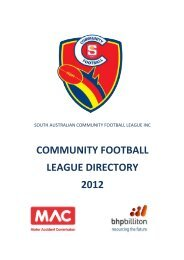 COMMUNITY FOOTBALL LEAGUE DIRECTORY 2012 - sanfl