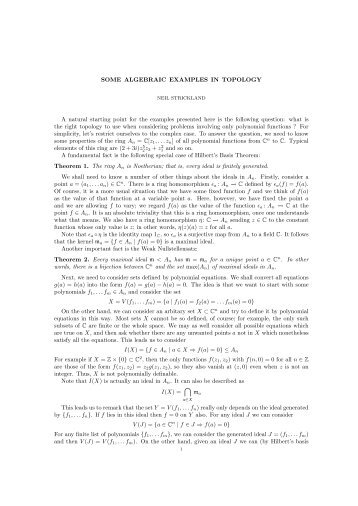 SOME ALGEBRAIC EXAMPLES IN TOPOLOGY A ... - Neil Strickland
