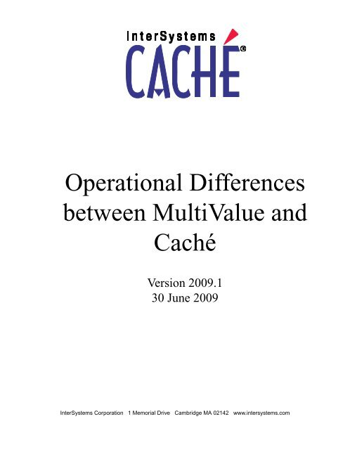 Operational Differences - InterSystems Documentation