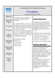 Newsletter 02/2006 - Zentralinstitut für Regionenforschung ...