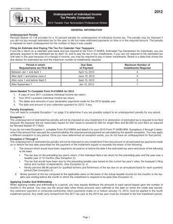 Instructions - Louisiana Department of Revenue