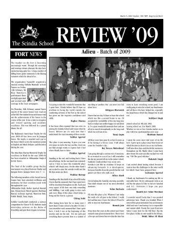 15th March 2009 - The Scindia School