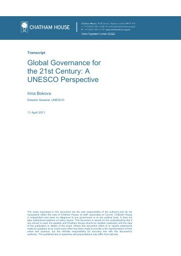 Global Governance for the 21st Century - UK National Commission ...