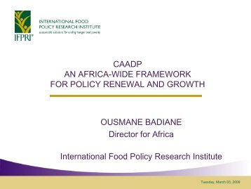 CAADP AN AFRICA-WIDE FRAMEWORK FOR POLICY RENEWAL ...