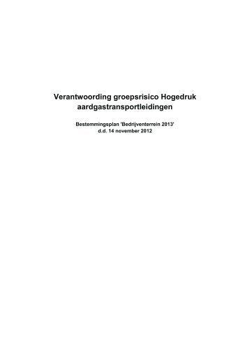 Verantwoording groepsrisico Hogedruk aardgastransportleidingen