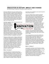 innovation in history: impact and change - Maryland Humanities ...