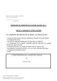 DEMANDE DE SUBVENTION CULTURE ANNEE 2011 PIECES A ...
