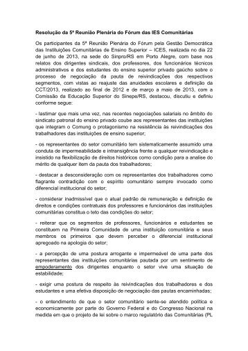 Resolução da 5ª Reunião Plenária do Fórum das IES ... - Sinpro/RS