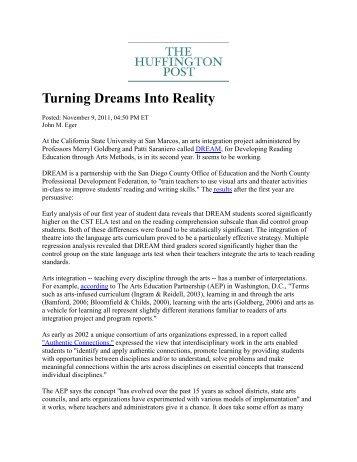 Turning Dreams Into Reality - Arts Education Partnership