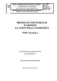 Program certyfikacji wyrobów na certyfikat zgodności PNB-1 System ...