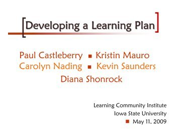 2009Developing a Lea.. - Learning Communities - Iowa State ...